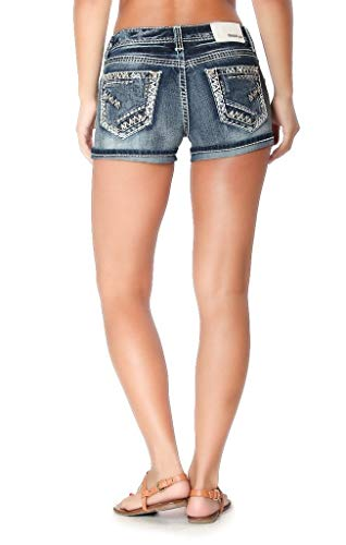 - Grace in LA Jeans Women's Embroidered Carrie Easy Fit Mid Thigh Denim Shorts Medium Wash EH-51230 (31)