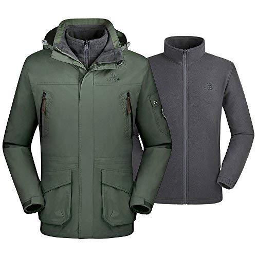 (CAMEL CROWN Men's Waterproof 3-in-1 Ski Jacket Windproof Warm Winter Coat Mountain Snow Jacket for Rain Outdoor)