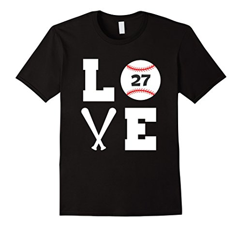 Player Baseball Love (Mens I Love Baseball Player Number #27 Shirt Large Black)