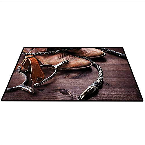 Western Decor Customize Floor mats Authentic Old Leather Boots and Spurs Rustic Rodeo Equipment USA Style Art Picture Indoors Bathroom 3'x5' (W90cmxL150cm) Brown