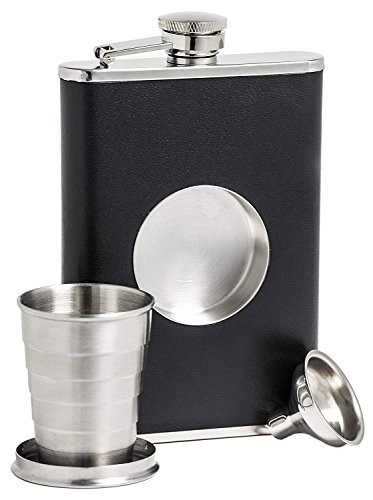 Stainless Steel Hip Flask, ICASA, 8 oz Shot Flask and Built-in Collapsible 2 Oz Shot Glass & Flask Funnel, Groomsmen -