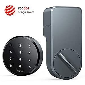 Victure Smart Lock - Keyless Entry with App & Touchpad, Easy Installation, Works with Existing Deadbolt, Space Gray Doors