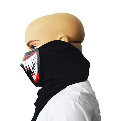 (Tuscom Sound Reactive Half Face Halloween Masks,LED Light Up Mask for Festival,Party,Halloween,Dance Sound Reactive (A))