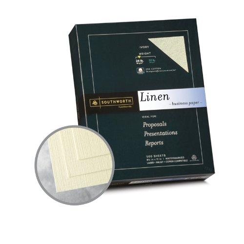 Southworth 564C 25% Cotton Linen Business Paper, Ivory, 24 lbs, 8-1/2 x 11, 500/Box, FSC