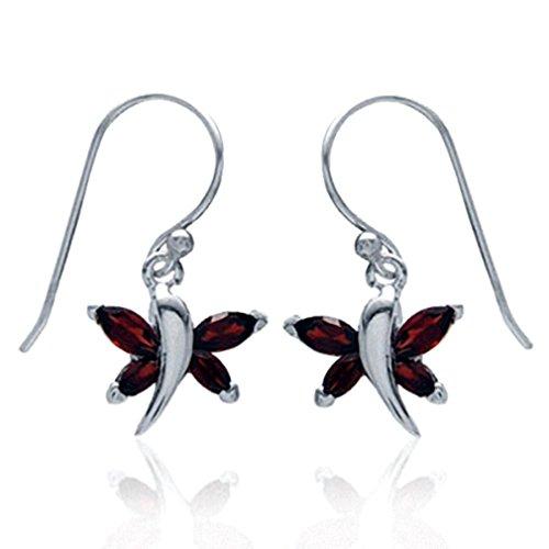 Garnet Dragonfly Ring - Silvershake Natural January Birthstone Garnet 925 Sterling Silver Dragonfly Dangle Hook Earrings