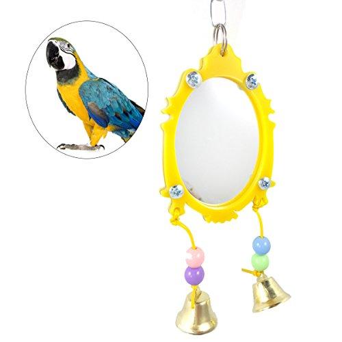 UEETEK Fancy Mirror Bird Parrot Toy Bird Cage Hanging Ornament with Bells Birdcage Mirror