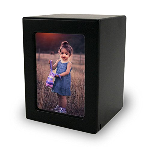 Photo Frame Wood Memorial Urn for Loved One - Small - Holds Up to 40 Cubic Inches of Ashes - Modern Black Cremation Urn for Ashes - Engraving Sold Separately