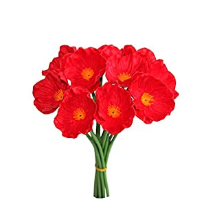 """Mandy's 10pcs Red Poppies Silk Artificial Flowers 12.5"""" PU for Wedding Home & Kitchen (vase not Include) 2"""