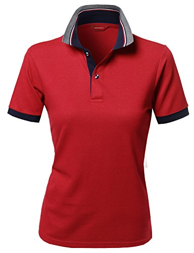 Xpril Solid Basic Short Sleeve Pique Knit Polo T-Shirt Tee Red -