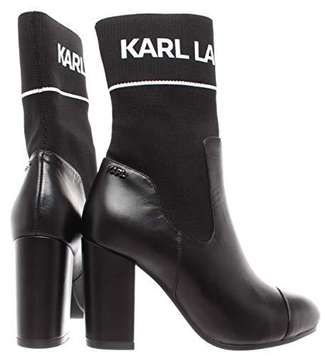 Mix Leather Black New Textile On Lagerfeld Karl Midi Boot Nero Slip Scarpe Donna wY8qTOH