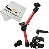 Haoge 11 inch Articulating Friction Magic Arm with Small Clamp Crab Pliers Clip for HDMI LCD Monitor LED Light DSLR Camera Video Tripod Red