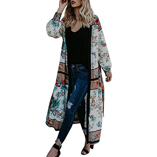 E-Scenery Clearance Sale! Women's Kimono Cardigan Floral Loose Long Sleeve Soft Beachwear Swimsuit Cover up with Belt (Green, ()