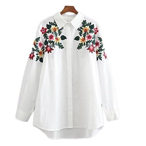 497146a5cb7e Primavera Estilo Europeo Flor Del Bordado Parte Larga De La Camisa ...