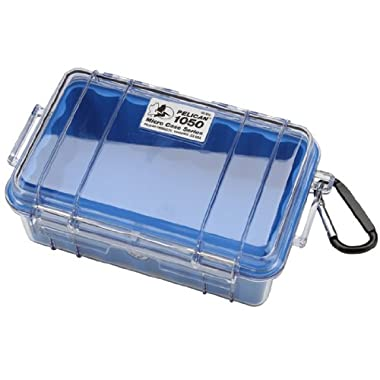 Waterproof Case   Pelican 1050 Micro Case - for iPhone, cell phone, GoPro, camera, and more (Blue/Clear)