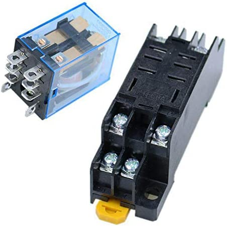 Alician 10Pcs 12V 24V DC 110V 220V AC Coil Power Relay LY2NJ DPDT 8 Pin HH62P JQX-13F with Socket Base DC24V Electronic Tools
