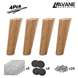 Diy Oak Coffee Table 8 inch / 20cm Wooden Furniture Legs, La Vane Set of 4 Solid Wood Oblique Tapered Furniture Replacement Feet with Mounting Plate & Screws for Sofa TV Cabinet Bed Dining Table
