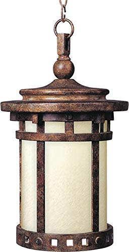Maxim 85038MOSE Santa Barbara EE 1-Light Outdoor Hanging Lantern, Sienna Finish, Mocha Glass, GU24 Fluorescent Fluorescent Bulb , 60W Max., Damp Safety Rating, Standard Dimmable, Glass Shade Material, 1344 Rated Lumens
