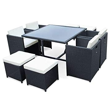 Salon de Jardin 4-8 Places - Vasto - Coloris Noir, Coussins écrus, Table  encastrable.