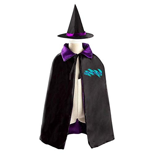 (Tnilsk Kids 90s Line Design Halloween Cloak with Hat Reversible Witch Christmas Party Robe Cosplay)
