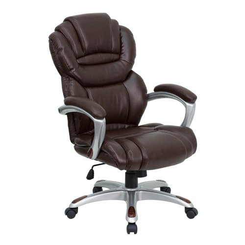 Offex High Back Brown Leather Executive Office Chair with Leather Padded Loop Arms