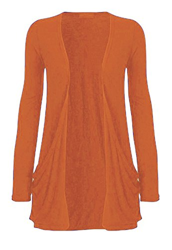 WearAll Women's Long Sleeve Pocket Cardigan - Rust - US 16-18 (UK 20-22)
