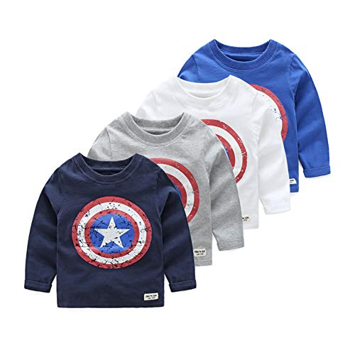 g Sleeved T-Shirt Captain America Streetwear 100% Cotton Boys T Shirt 2-6year (Gray, 1-2year) ()