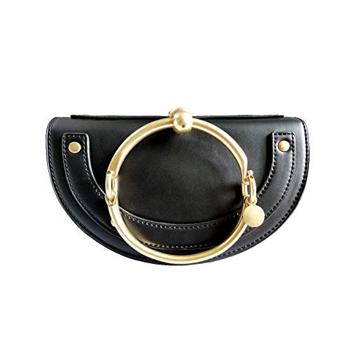 - Normia Rita Cute Lune Shoulder Bags Ring Handbags for Women Phone Wallet Shell Purse for Girls - Black