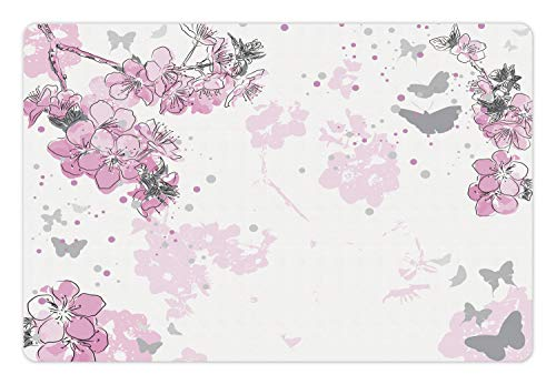 (Ambesonne Almond Blossom Pet Mat for Food and Water, Paint Splashes Background with Outline Style Spring Flower Composition, Rectangle Non-Slip Rubber Mat for Dogs and Cats, Pink and Black)