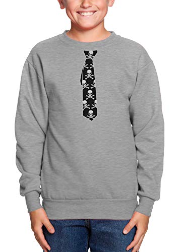 (HAASE UNLIMITED Skull & Crossbone Tie - Skeleton Goth Youth Fleece Crewneck Sweater (Light Gray, X-Large))