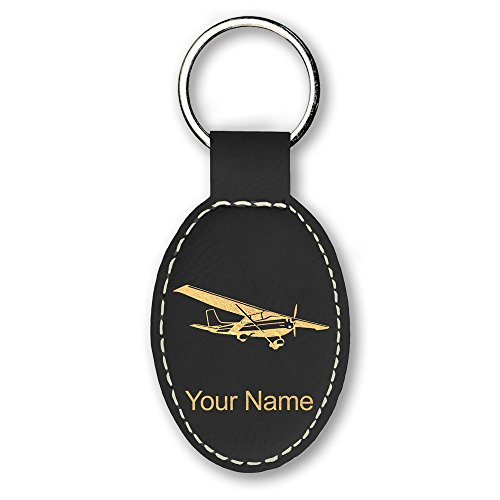 Oval Keychain, High Wing Airplane, Personalized Engraving Included (Black) (High Wing Airplane)