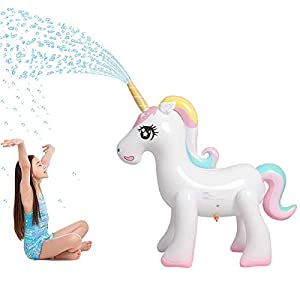 Panther Magical Inflatable Unicorn Yard Sprinkler, Summer Outdoor Water Game Splash Play Alicorn/ Pegasus Lawn Sprinkler, Water Spray Toys Fun for Kid Child Adult, 4.5FT 55″ Over 4 Feet Tall