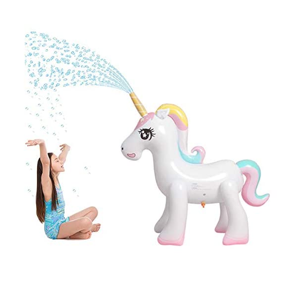 """Panther Magical Inflatable Unicorn Yard Sprinkler, Summer Outdoor Water Game Splash Play Alicorn/ Pegasus Lawn Sprinkler, Water Spray Toys Fun for Kid Child Adult, 4.5FT 55"""" Over 4 Feet Tall 3"""