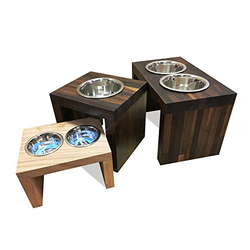 Feeder Wood Cat - UNFINISHED Solid american cherry wood Elevated Dog and Cat Pet Feeder, Single Bowl Raised Stand (1 pint), 1-1/2