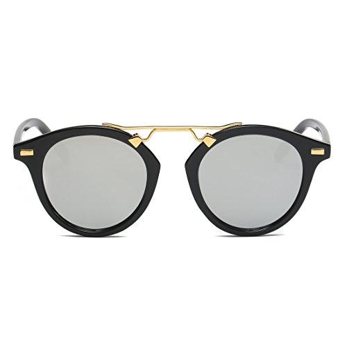 LOMEDO Oval Lenses Vintage with Horn Rimmed Mirrored W/ Flash Womens - Kardashian Style Kourtney