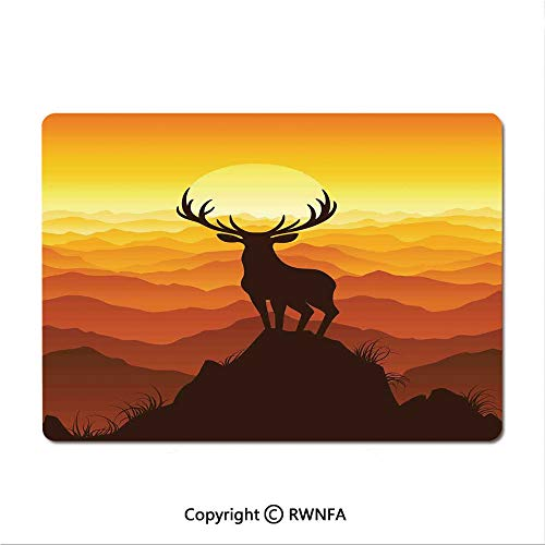 Office and Home Waterproof Coated Mouse pad,Deer Antlers on Wood Table Rustic Texture Surface Hunting Season Decorating(8.3