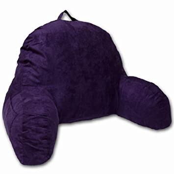 Purple Microsuede Bed Rest Reading Pillow & Support Bed Backrest Pillow  With Arms - Bedrest Pillow