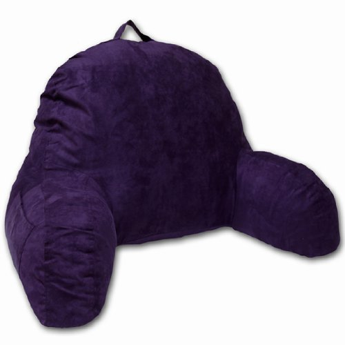 Purple Microsuede Bed Rest Reading Pillow & Support Bed Backrest Pillow With Arms - Bedrest Pillow, Bed Rest Lounger Makes A Comfy And Therapeutic Cuddle Buddy, Bed Pillow For Sitting Up - High Back Microsuede Chair
