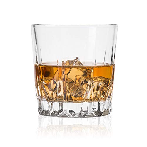GLASKEY Whiskey Glass Set of 4-7.5 oz Lead Free Crystal Old Fashioned Glass, Cocktail Cool Rocks Glass Tumbler for Bourbon, Irish Whisky, Brandy and More, Scotch Glasses ()