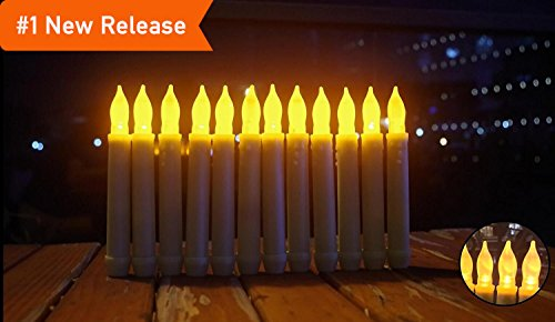 LED Taper Candles, Battery Operated With Timer Wax Dripped Amber Flickering Flameless Tapers Candle Bulk For Thanksgiving&Christmas-Set Of 12