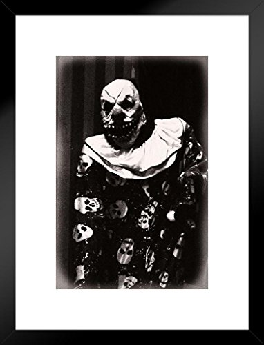 Poster Foundry Creepy Clown with Scary Teeth Black and White B&W Photo Art Print Matted Framed Wall Art 20x26 -
