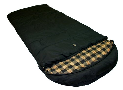 Ledge Sports Outfitter -20 F Degree XL Oversize Flannel Lined Sleeping Bag (Black, 90 X 40), Outdoor Stuffs