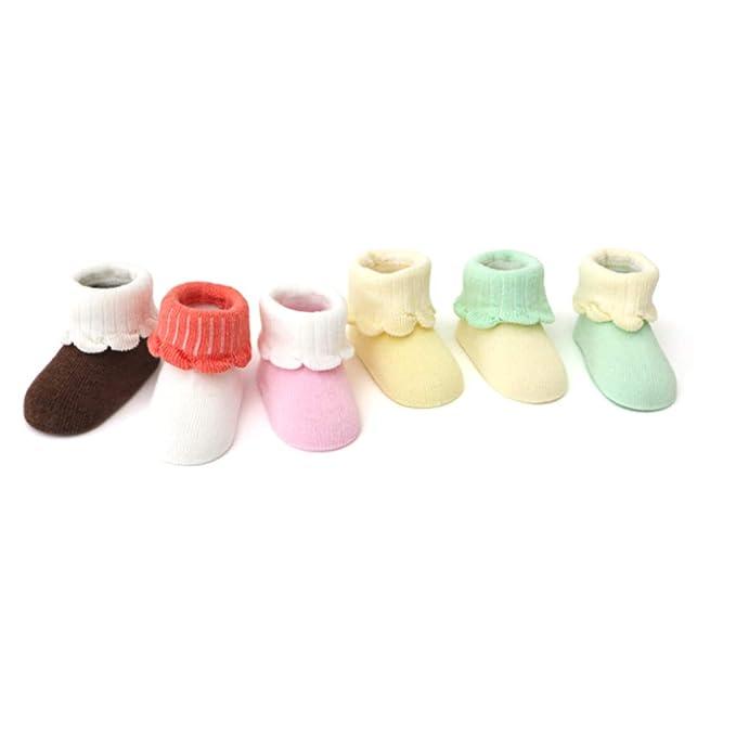 IKRR 6 piezas Babys Socks Calcetines para Bebes Niños Niñas Algodón ...