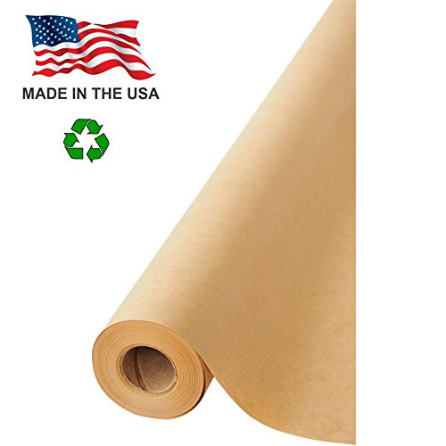 "Made in USA Brown Kraft Paper Jumbo Roll 30"" x 1200"" (100ft) Ideal for Gift Wrapping, Art, Craft, Postal, Packing, Shipping, Floor Protection, Dunnage, Parcel, Table Runner, 100% Recycled Material"