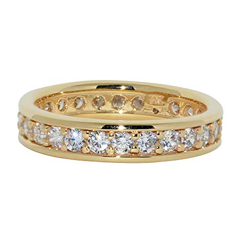 (Precious Stars Jewelry 14k Yellow Gold Pave and Channel Set Cubic Zirconia Eternity)