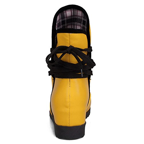 Bottes Compense Yellow Bottines A Fur Cheville De Talon Femmes Lacets TAOFFEN Courte Eaqpf0