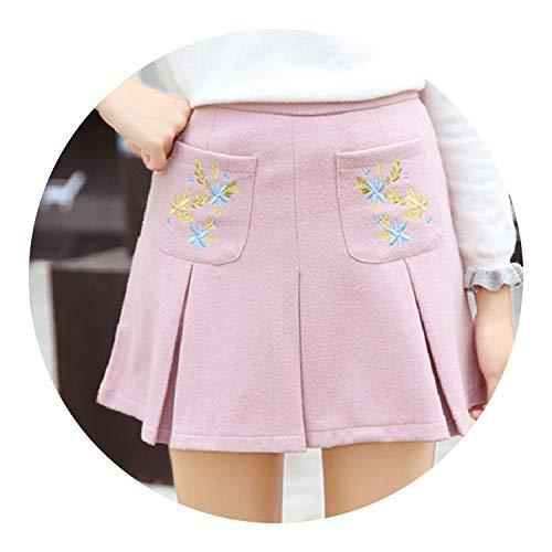 Korea Solid Cr Embroidery Flowers Pocket Woolen PleatedCute Kawaii Skirts for,Pink,L