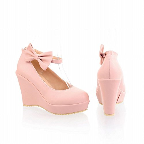 Carol Chaussures Femmes Bowknots Douce Lolita Style Cosplay Robe Boucle Plate-forme Talon Talon Mary Jane Chaussures Rose