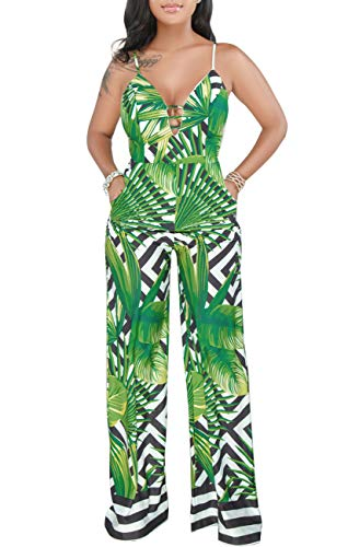 Womens Sexy Sleeveless Spaghetti Strap Floral Backless Jumpsuit Casual Wide Leg Long Pants Rompers with Pocket