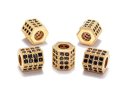 AD Beads Zircon Pave Rhinestones Rondelle Or Hexagon Bracelet Connector Spacer Beads (5 Pcs Black on Gold Hexagon (7x8mm))