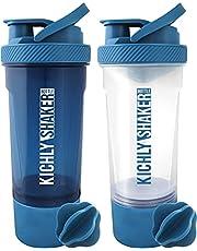 KICHLY - (2er-Pack) Klassische Protein-Mixer-Shaker-Flasche (700 ml, 24oz) - Auslaufsicherem Kappe met Behälter zur Aufbewahrung von Ergänzungsmitteln - Perfektes Fitnesspartner